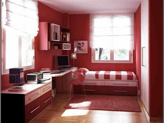 Big Girl Room Interior Design and Decoration Ideas. Red theme of the interior