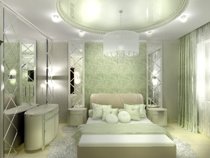Big Girl Room Interior Design and Decoration Ideas. Green classic interior with glossy surfaces