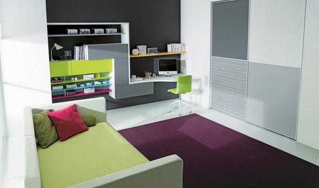 Big Girl Room Interior Design and Decoration Ideas. Large purple carpet in the center