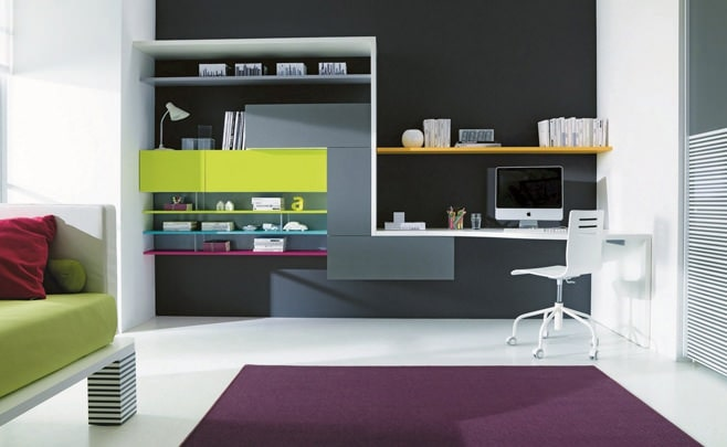 Big Girl Room Interior Design and Decoration Ideas. Modern designed room with colordul scheme of the furniture in sreamlined ultramodern style