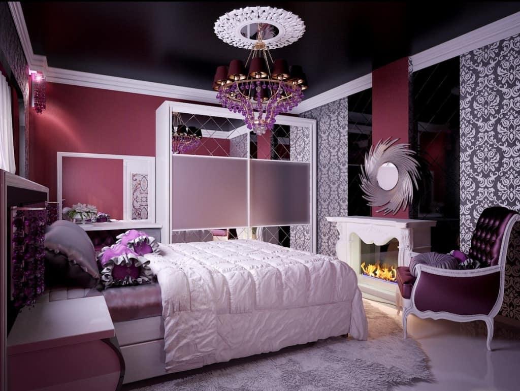 Big Girl Room Interior Design and Decoration Ideas. Spectacular black ceiling and large chandelier for unusual classic interior