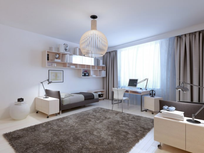 Spherical chandelier with glow effect for contemporary styled girl room with gray carpet