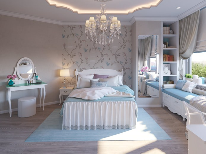Crystal chandelier and silkscreen wallpaper accent area for tender contemporary styled room