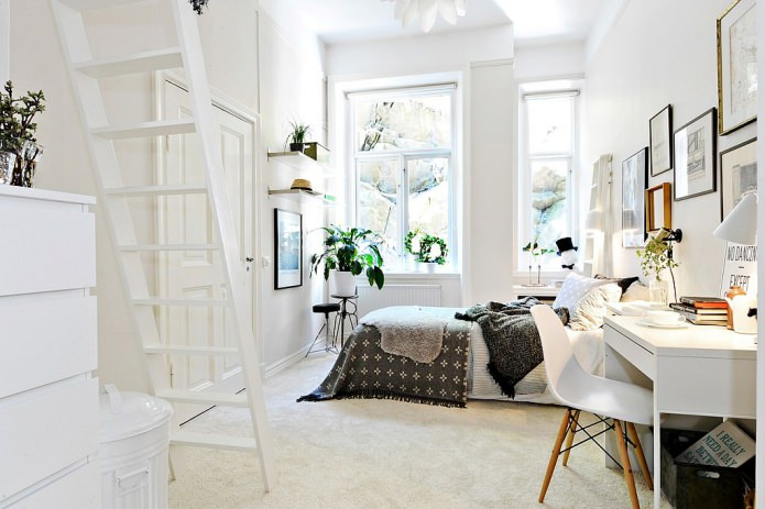 White design for big gir room with skilfully organized storage systems and fluffy rug at the floor