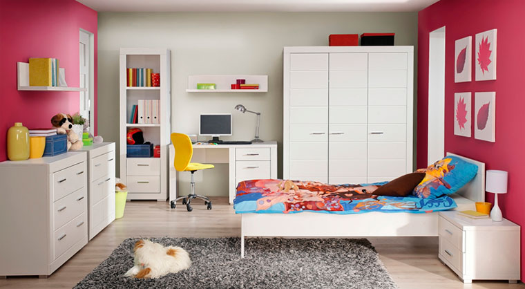 Simple design of the girl room with modular furniture and restrained color theme