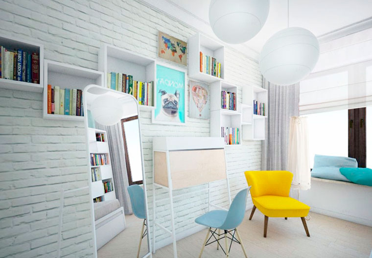 Painted brickwork imitating on walls. large mirror and the desk for study in the room of a modern girl