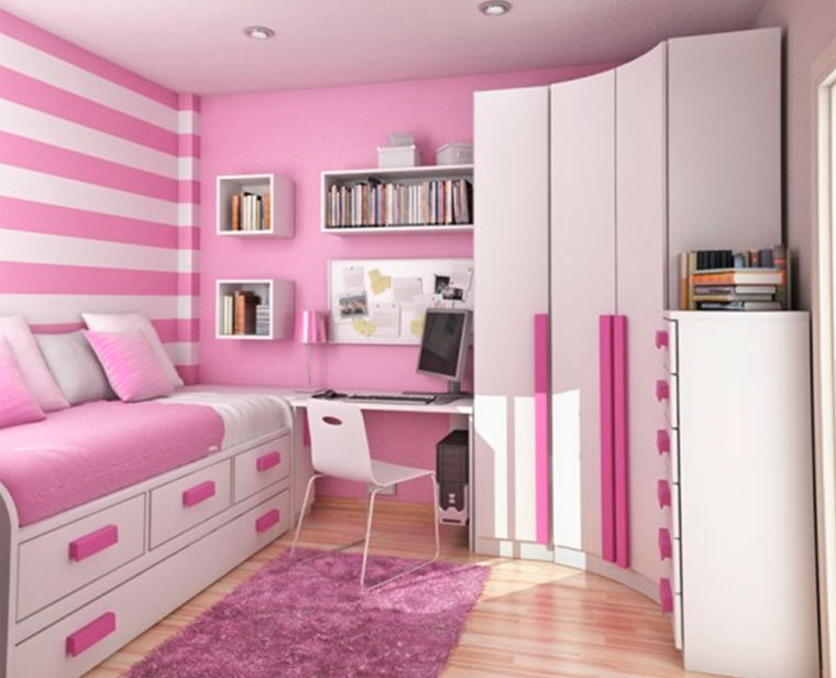 Pink idyll for the girl's room with well-organized storage