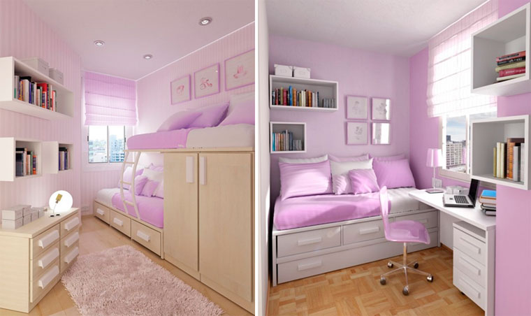 Big girl room in pink lipstick hues full of sleeping places for a small party