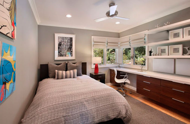 Gray and white combination for the big girl room full of light and with large bedroom