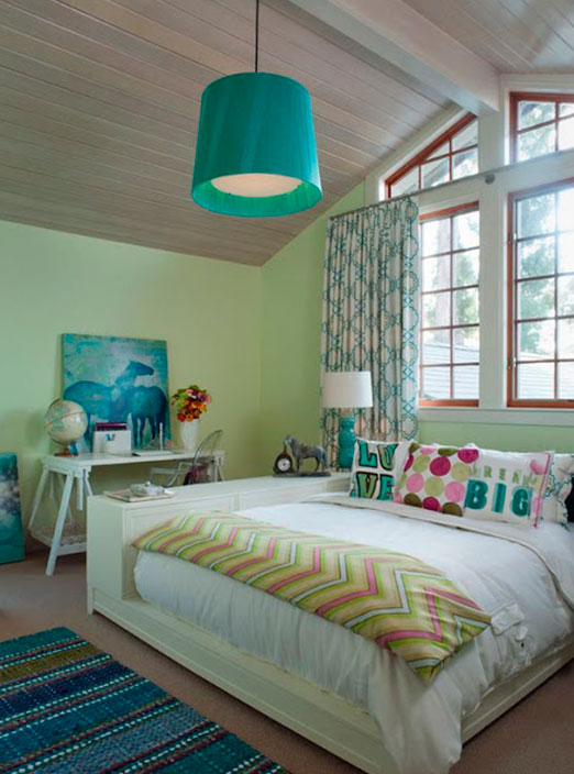 Colorful girl's bedroom for creative and cheerful hostess