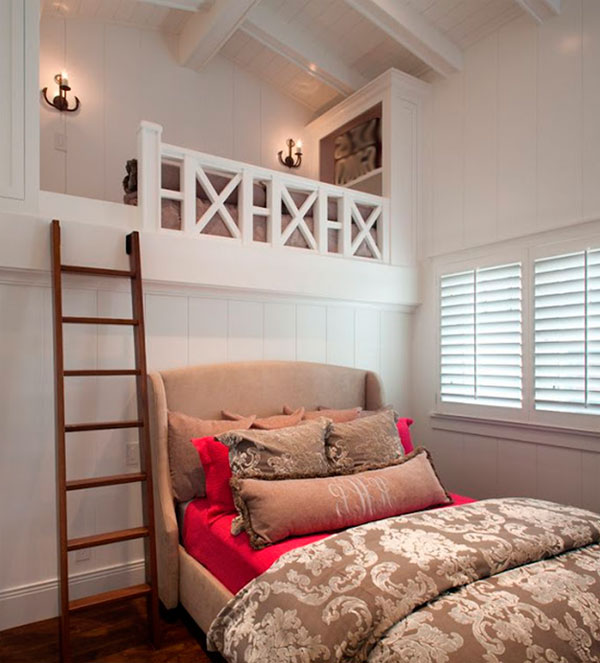 Loft study place and large bed for casual designed girl room