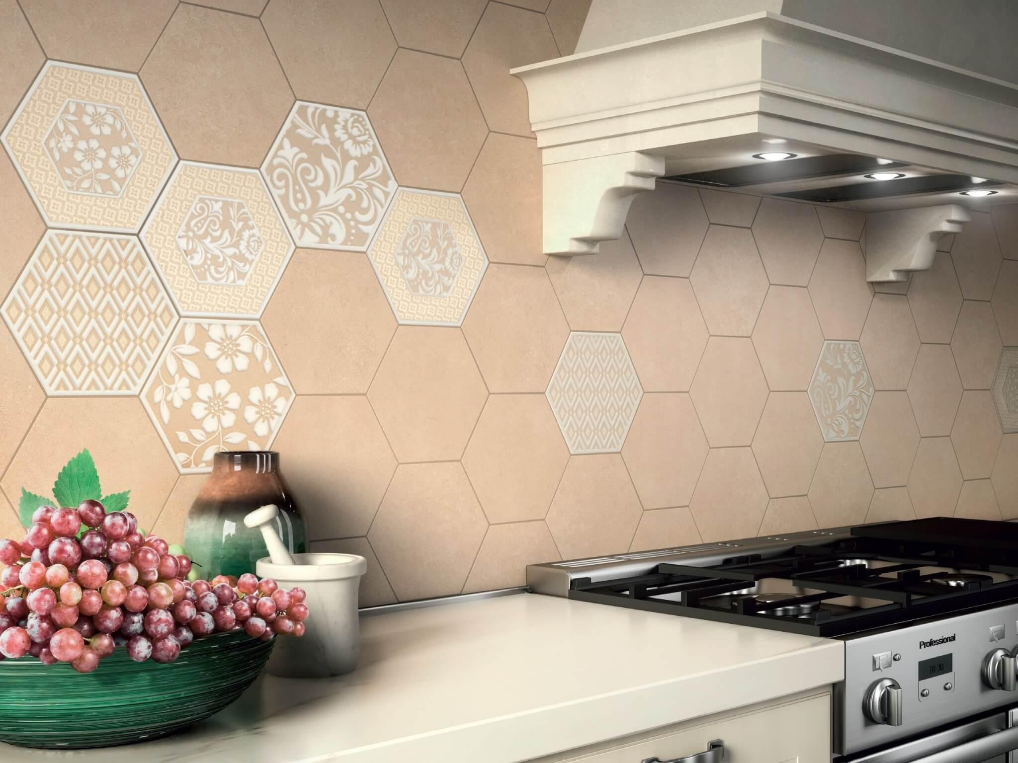 Kitchen Splashback Tile: Best Design and Decoration Ideas. Hexagonal Provence styled tiles