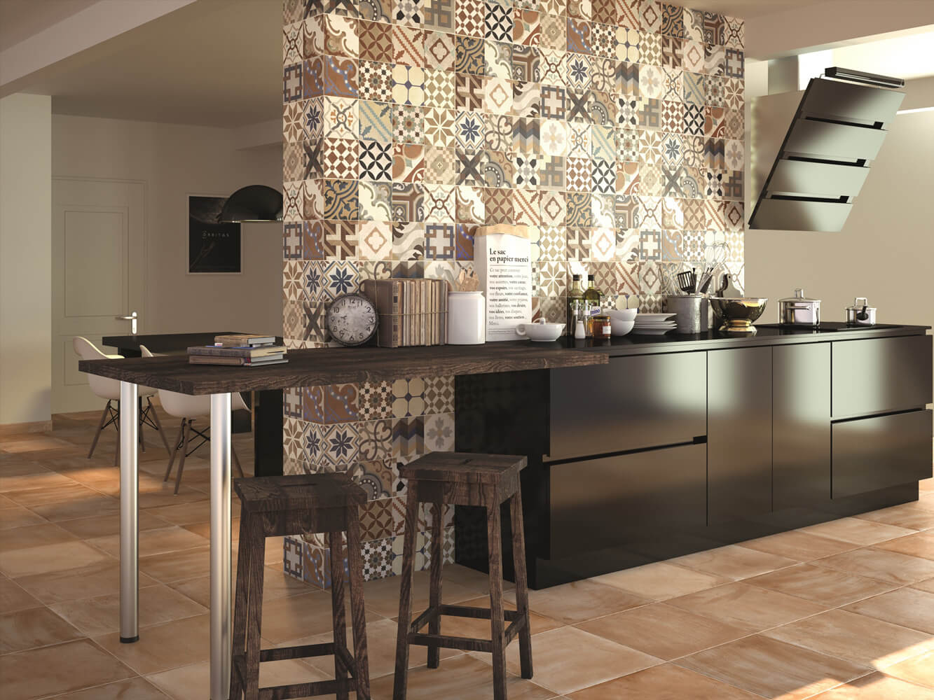 Kitchen Splashback Tile: Best Design and Decoration Ideas. Unusual zoning wall tiled with patchwork