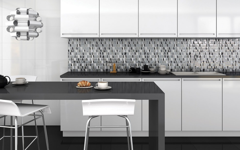 Kitchen Splashback Tile: Best Design and Decoration Ideas. Stremlined island and dark with white shallow mosaic accent