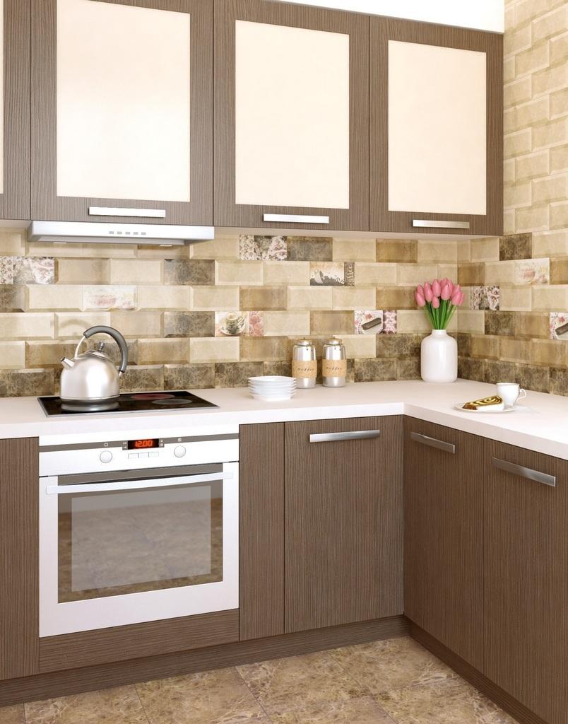 Kitchen Splashback Tile: Best Design and Decoration Ideas. Beige colored interior