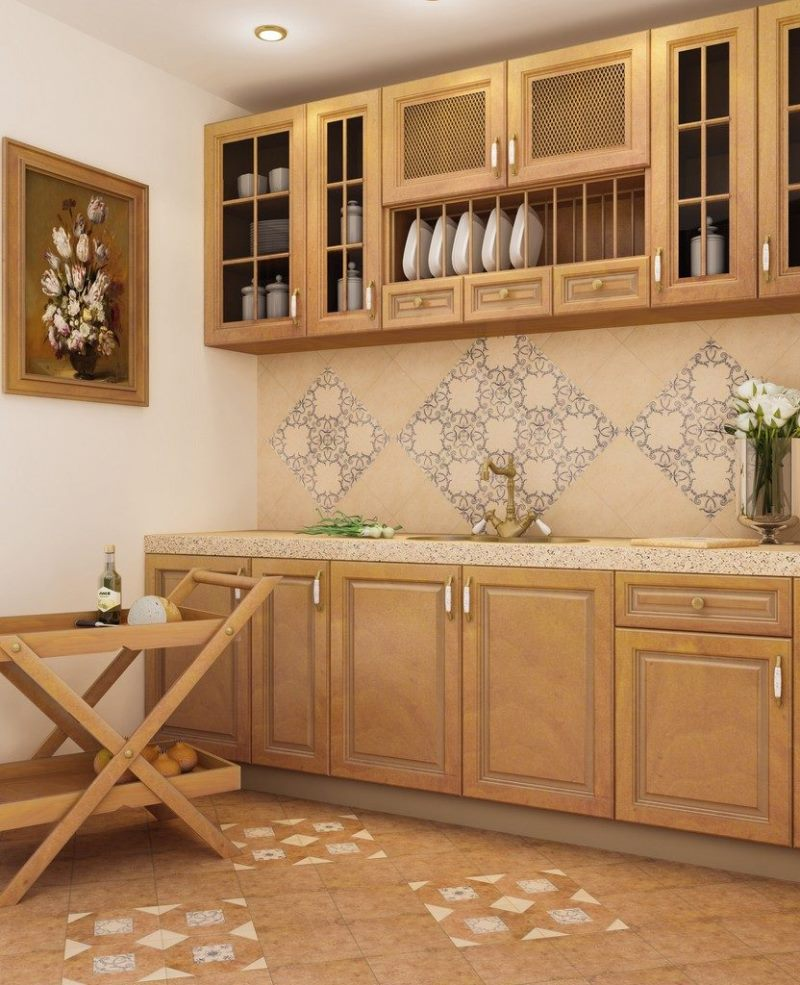 Kitchen Splashback Tile: Best Design and Decoration Ideas. Traditional kitchen design with carved wooden facades