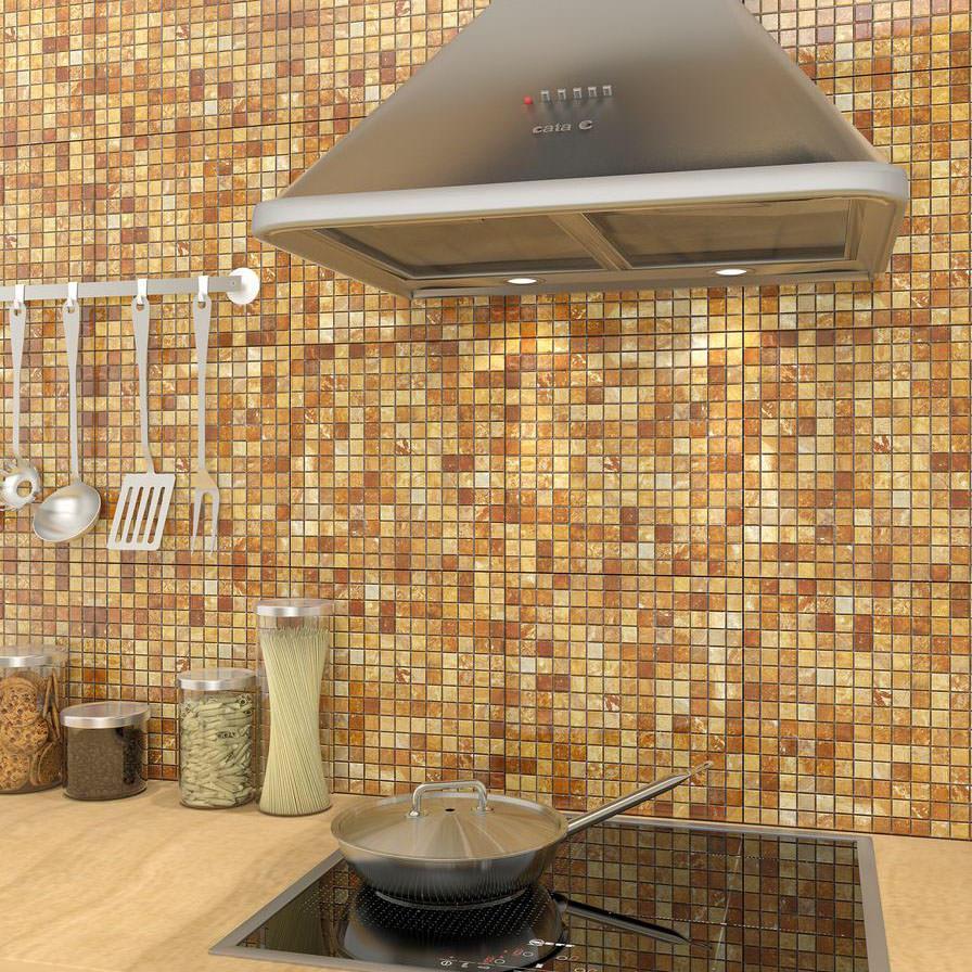 Kitchen Splashback Tile: Best Design and Decoration Ideas. Shallow golden mosaic