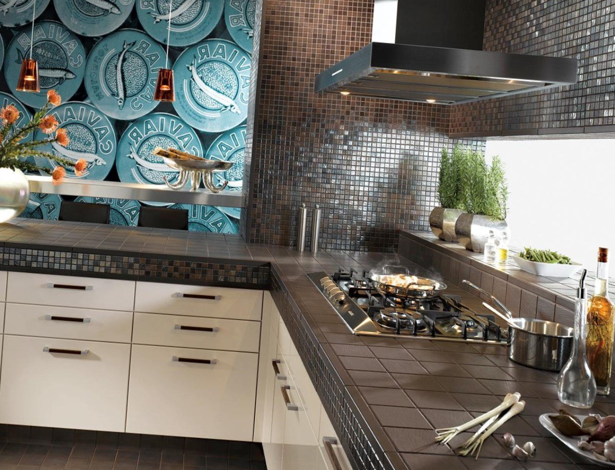 Marvelous kitchen design with dark chocolate glossy countertop and splashback