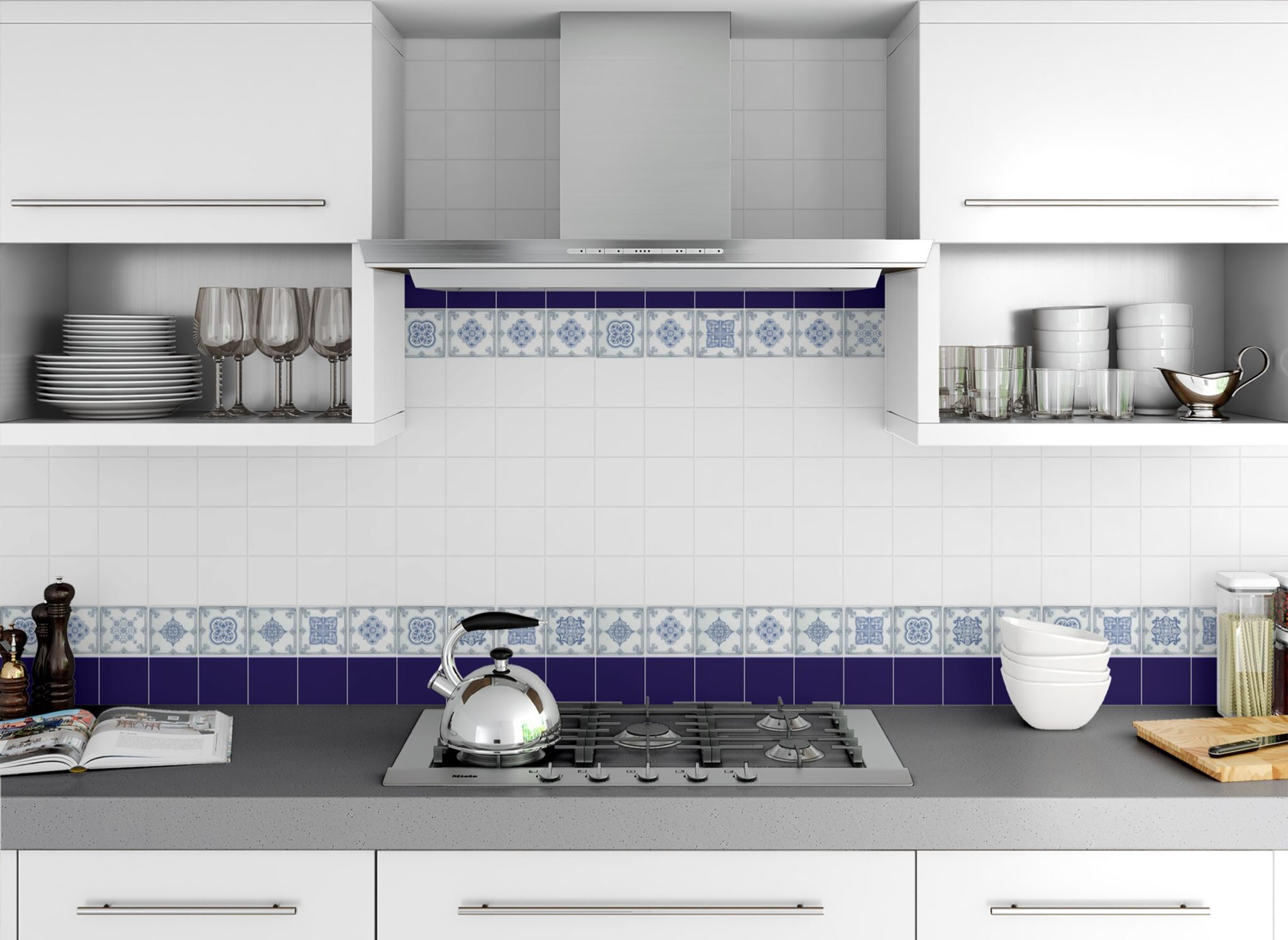 Casual design of the kitchen with blue framing of the splashback area