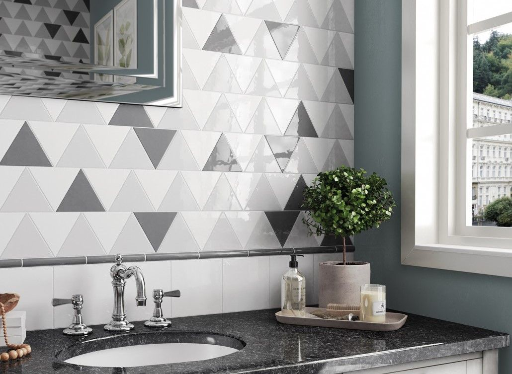 Great idea of laying triangle tile in the modern kitchen with marble coutnertop