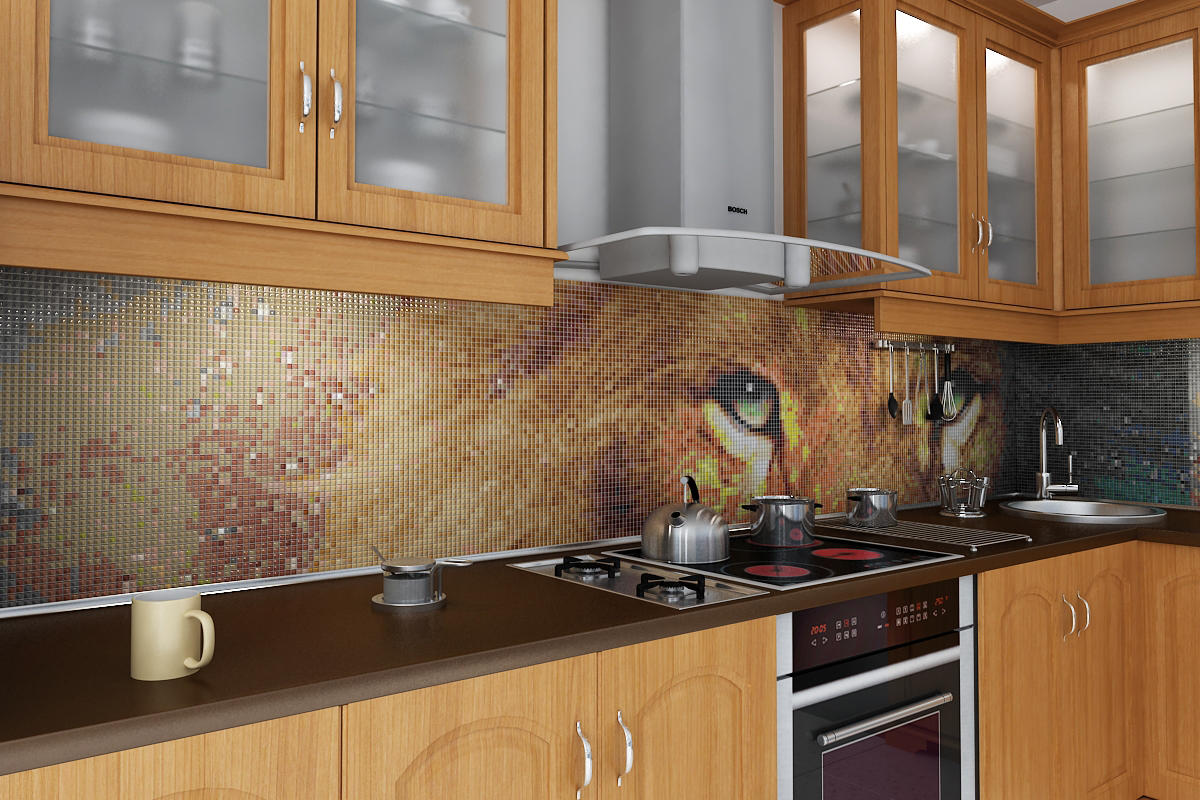 Photowallpaper with animalistic design for traditional space