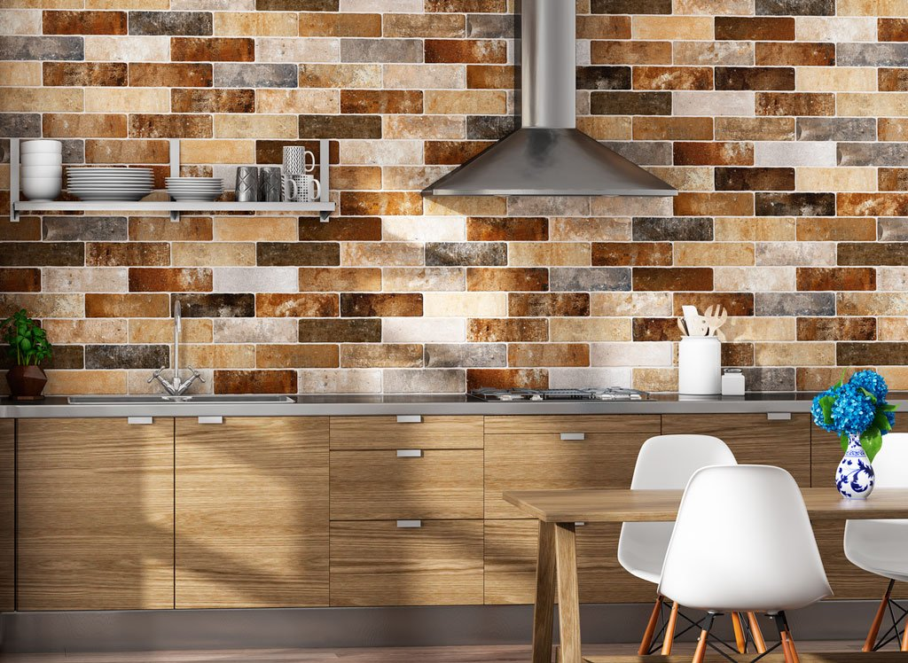Kitchen Splashback Tile: Best Design and Decoration Ideas. Wet stone imitation laquer for brickwork tile