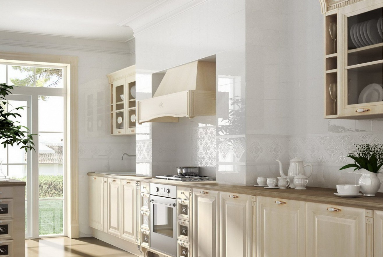 Kitchen Splashback Tile: Best Design and Decoration Ideas. Provence styled room in pure white