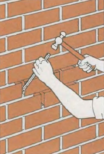 Masonry Pointing: Joints Recovery to Spalling Brick Repair. Seam cleaning process