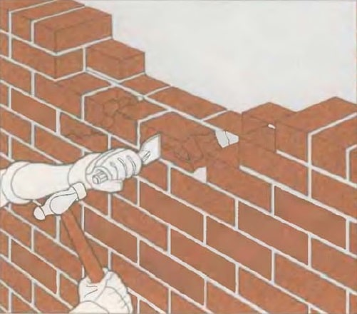 Masonry Pointing: Joints Recovery to Spalling Brick Repair. Removing a part of the wall