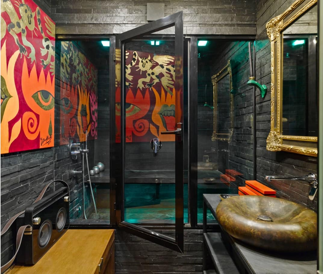 Simple DIY To Decorate Your Sweet Home. Bohemian touch of unusual dark scheme bathroom with walk-in shower, brass sink and retro items