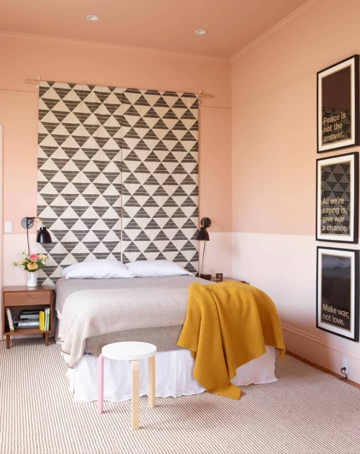 Simple DIY To Decorate Your Sweet Home. Two-colored scheme for the casual bedroom and spectacular triangle abstraction at the headboard