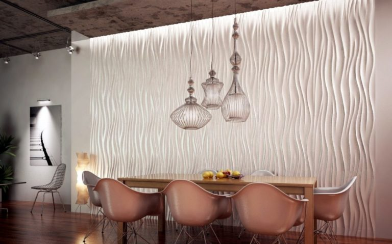 3D Textured Gypsum Wall Panels to Make Accent. Dining room with the structure wall
