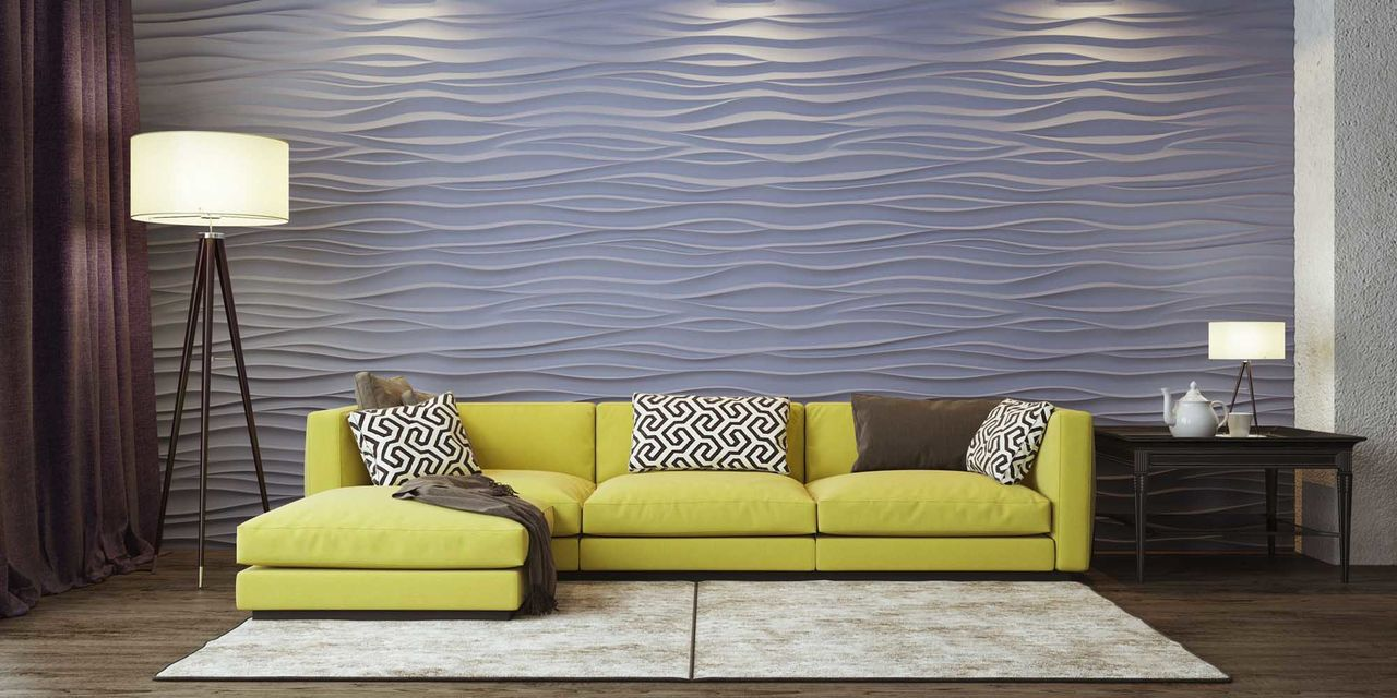 3D Textured Gypsum Wall Panels to Make Accent. The play of light on impressionistic waves made of gypsum panels
