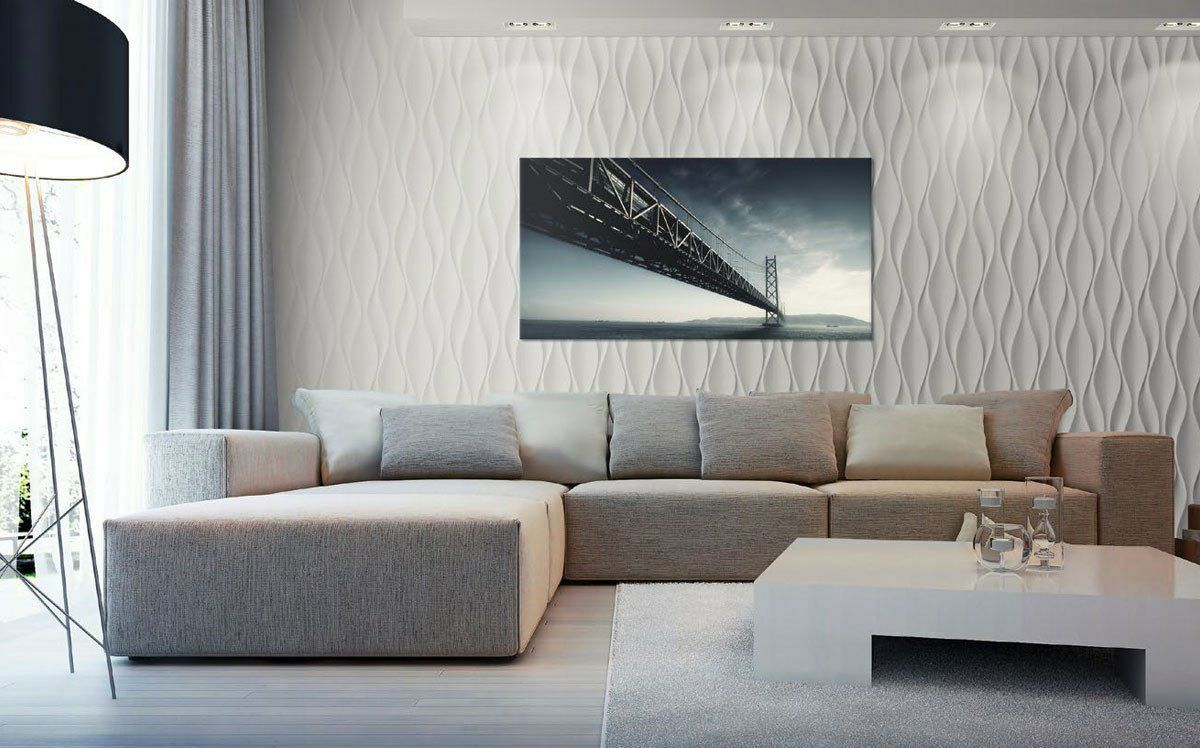 3D Textured Gypsum Wall Panels to Make Accent. TV and corner sofa in the modern spacey interior