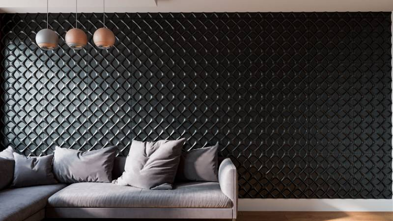 3D Textured Gypsum Wall Panels to Make Accent. Marvelous design idea with black structured surface