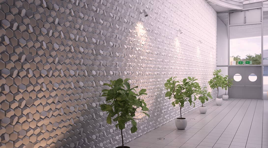 3D Textured Gypsum Wall Panels to Make Accent. Unusual hall decoration with stone imitating pattern