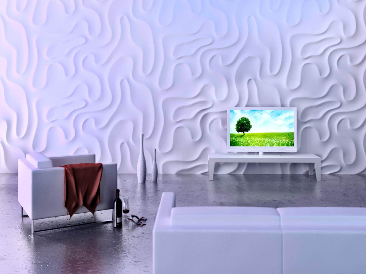 3D Textured Gypsum Wall Panels to Make Accent. Expressive wall structure for spacious minimalistic living room