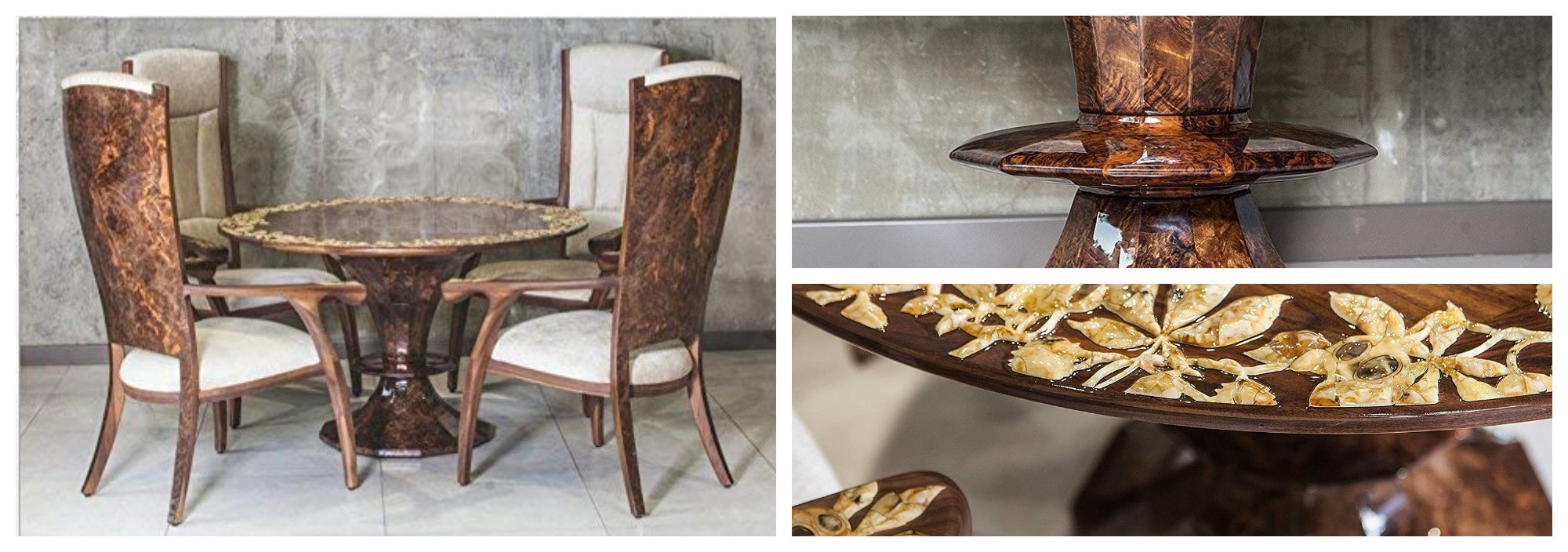 A walnut table and walnut chair with amber decoration