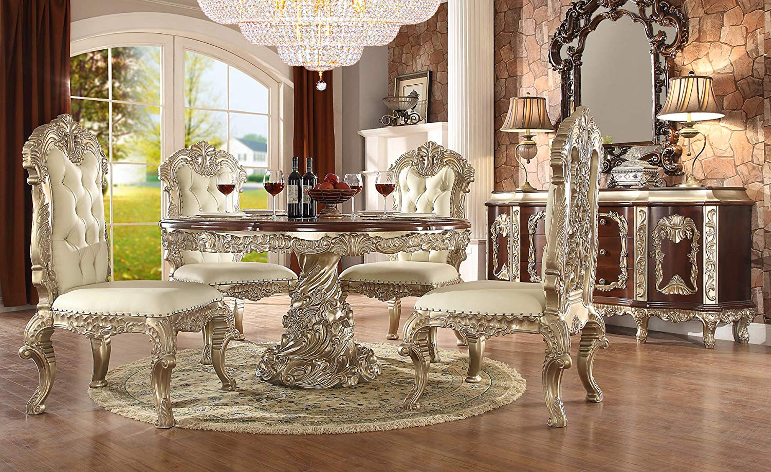 Crystal chandelier and beautiful white dining set