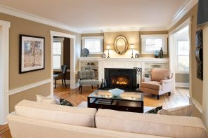 Traditional Interior Design Ideas: Lightweight Classics. Neutral beige walls and electric fireplace