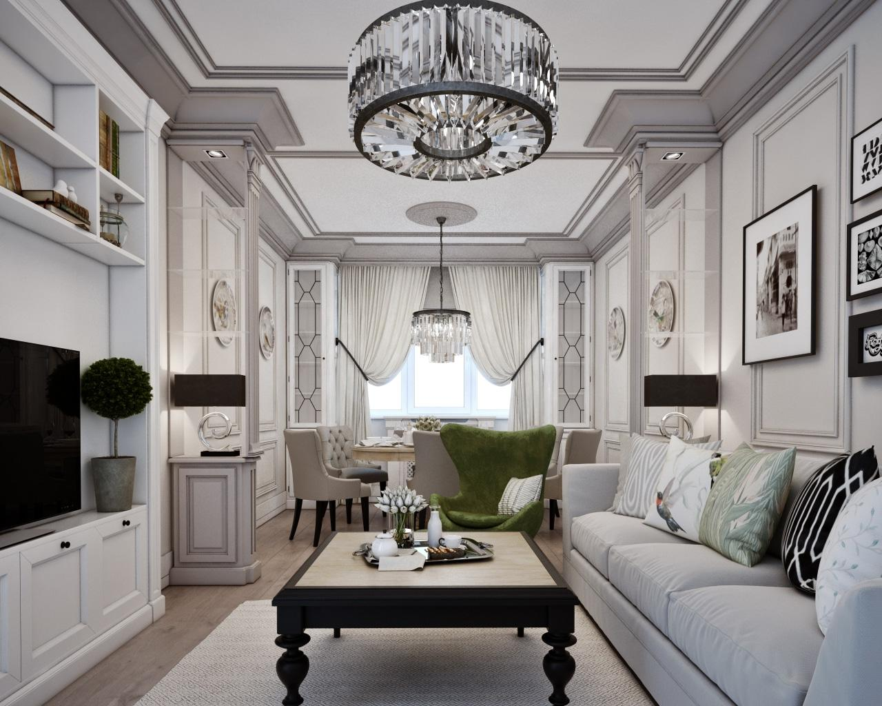 Traditional Interior Design Ideas: Lightweight Classics. Wainscoted walls and stucco framed ceiling of the Classic white living room