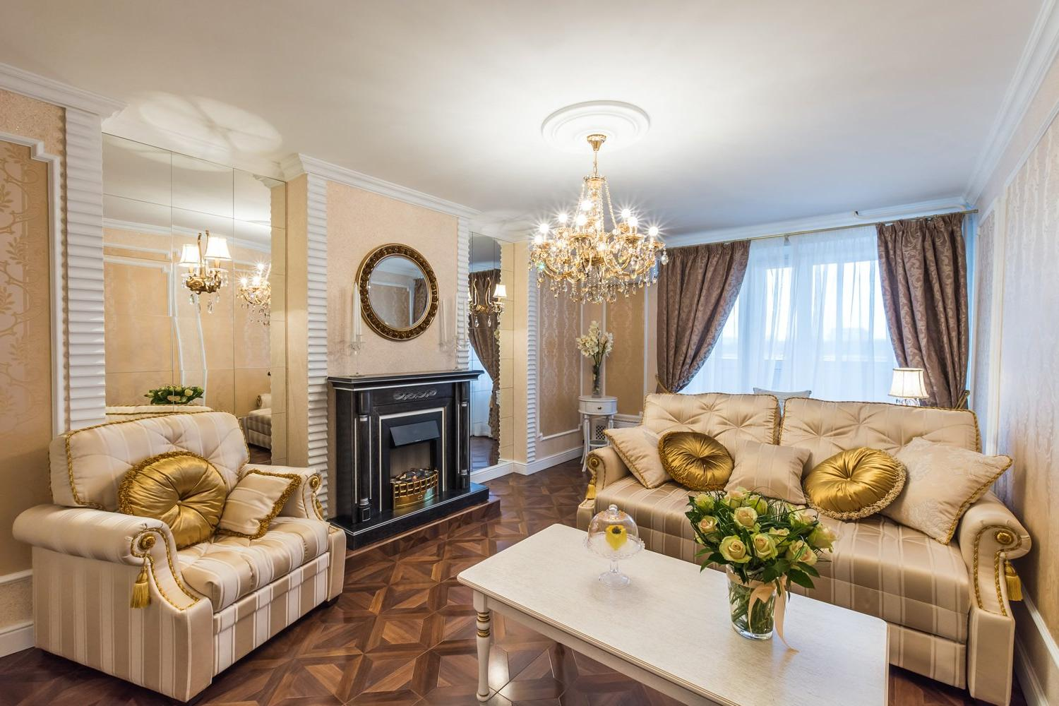 Traditional Interior Design Ideas: Lightweight Classics. Large grandeur designed living room with accent electric fireplace