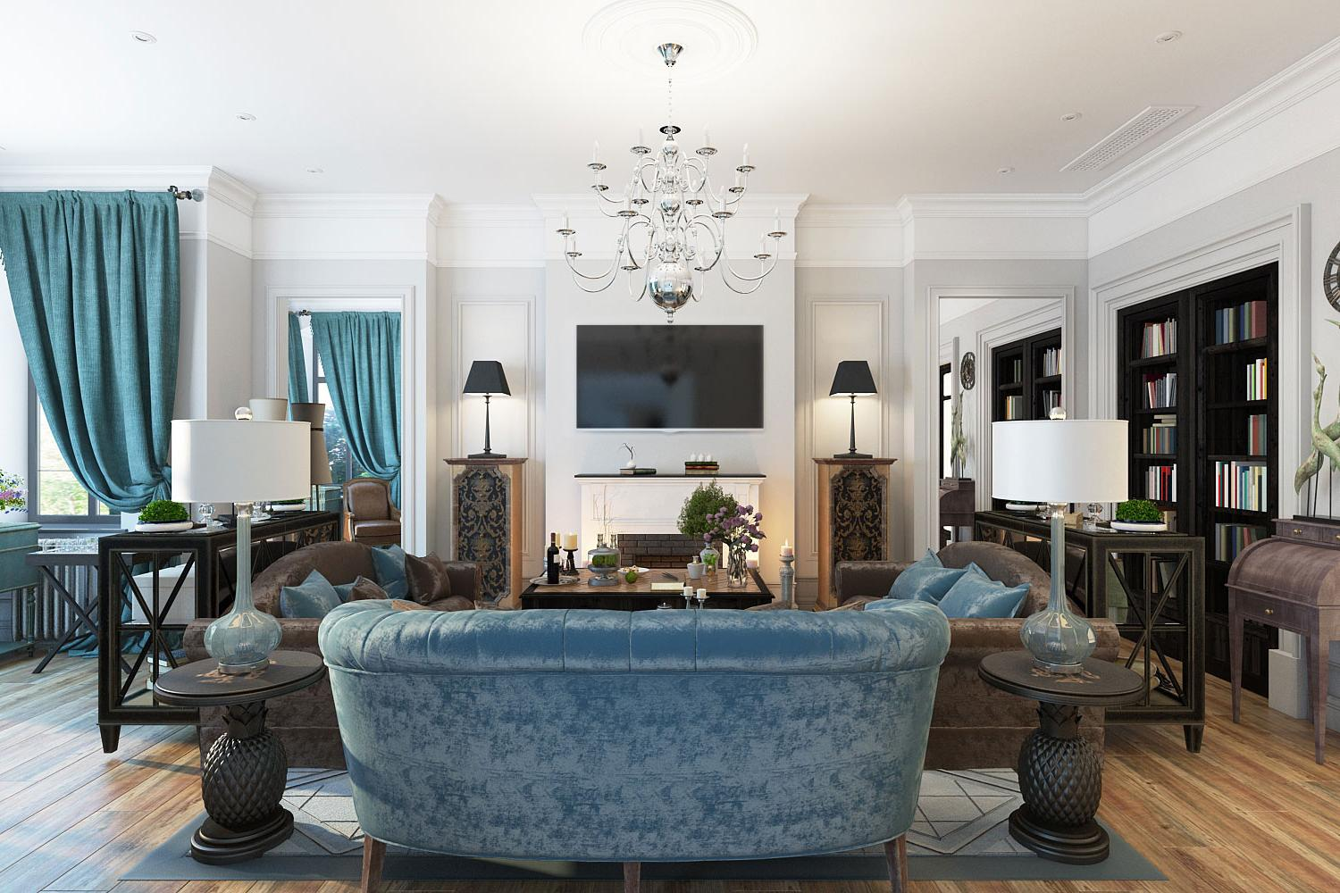 Traditional Interior Design Ideas: Lightweight Classics. Spectacular turquoise velours sofa at the forefront