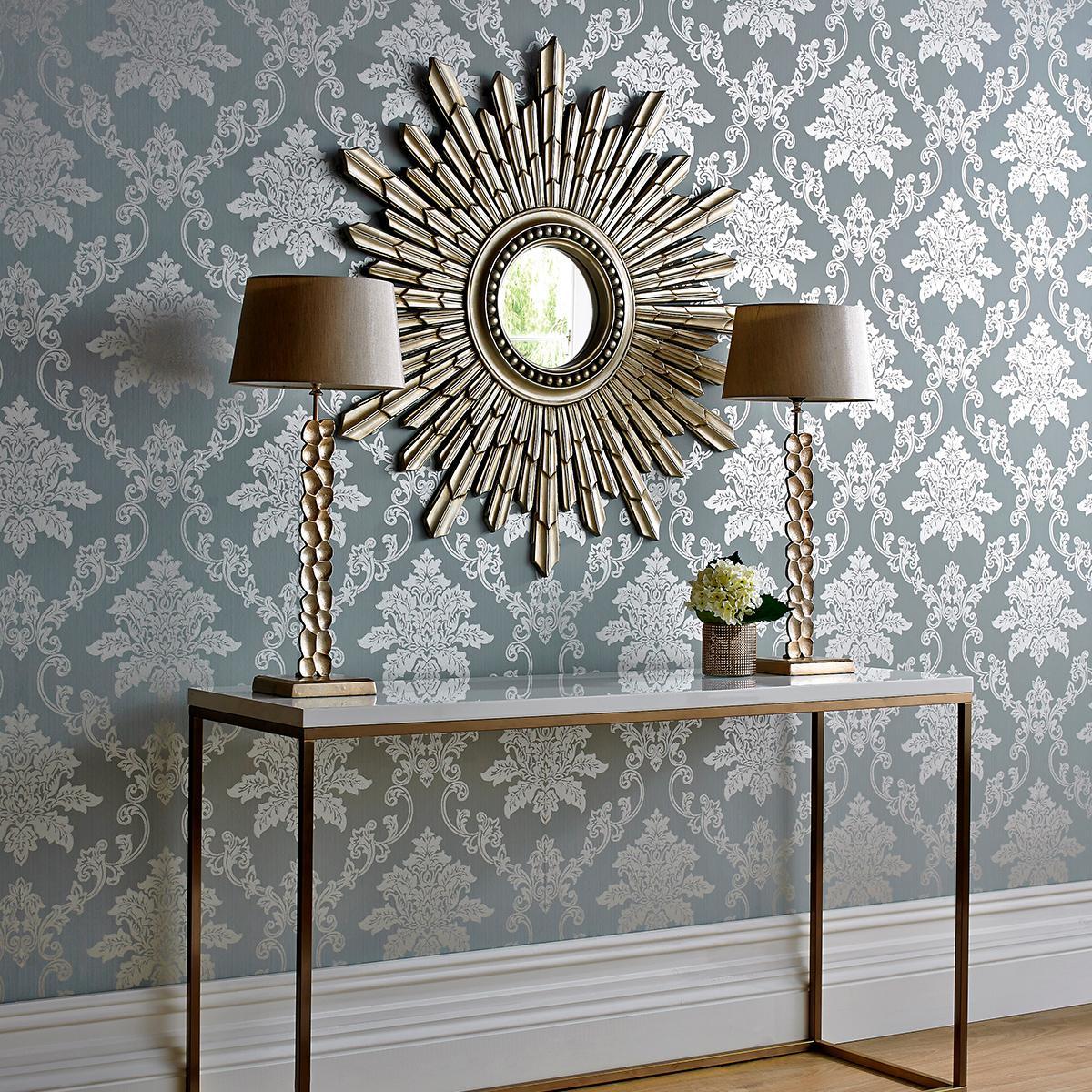 Traditional Interior Design Ideas: Lightweight Classics. Starburst mirror as an accent on silkscreen wallpaper