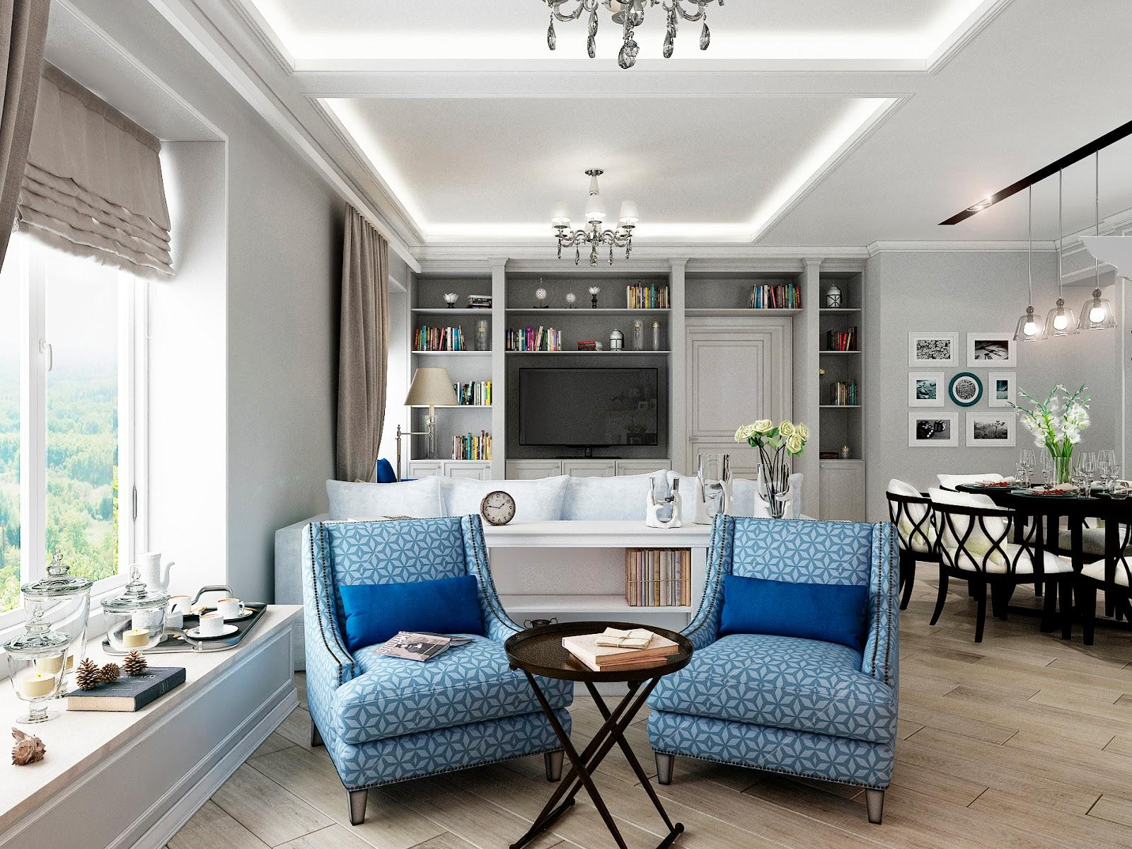 Blue accentual spots of traditional living room with modern backlight of the ceiling