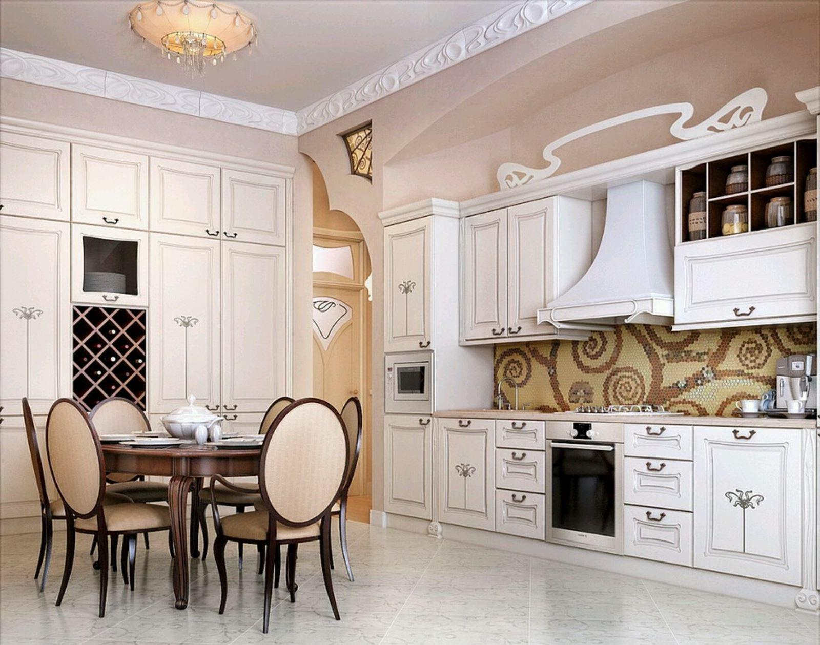 Great kitchen with ethnic and traditional touch and white furniture set