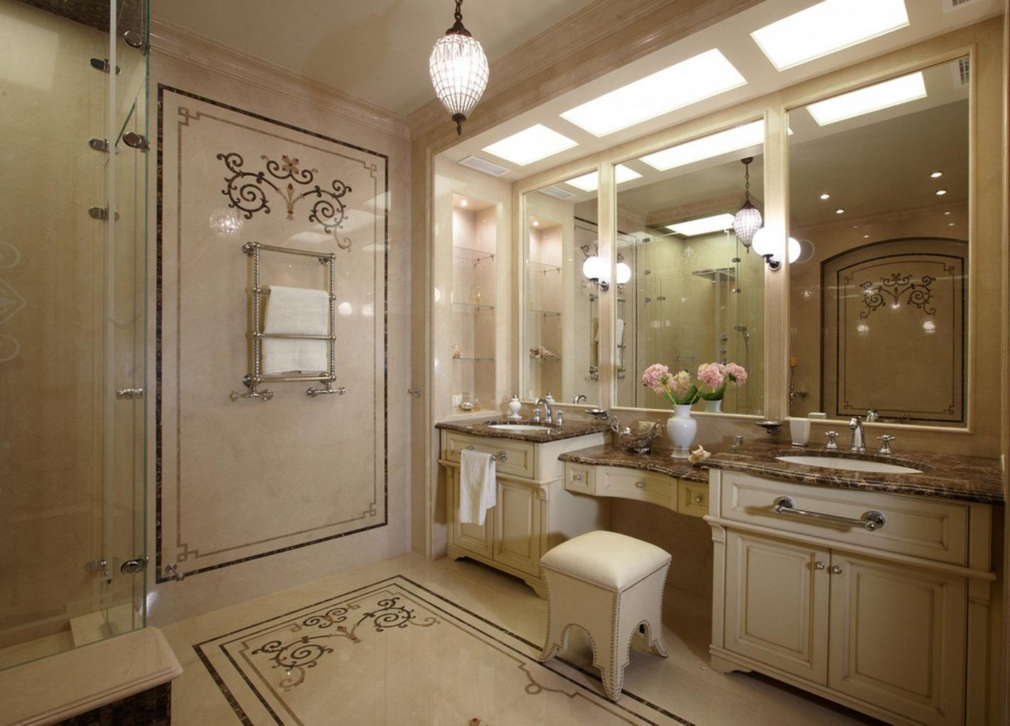 Bathroom in dull creamy white tones with stage light and the pouff