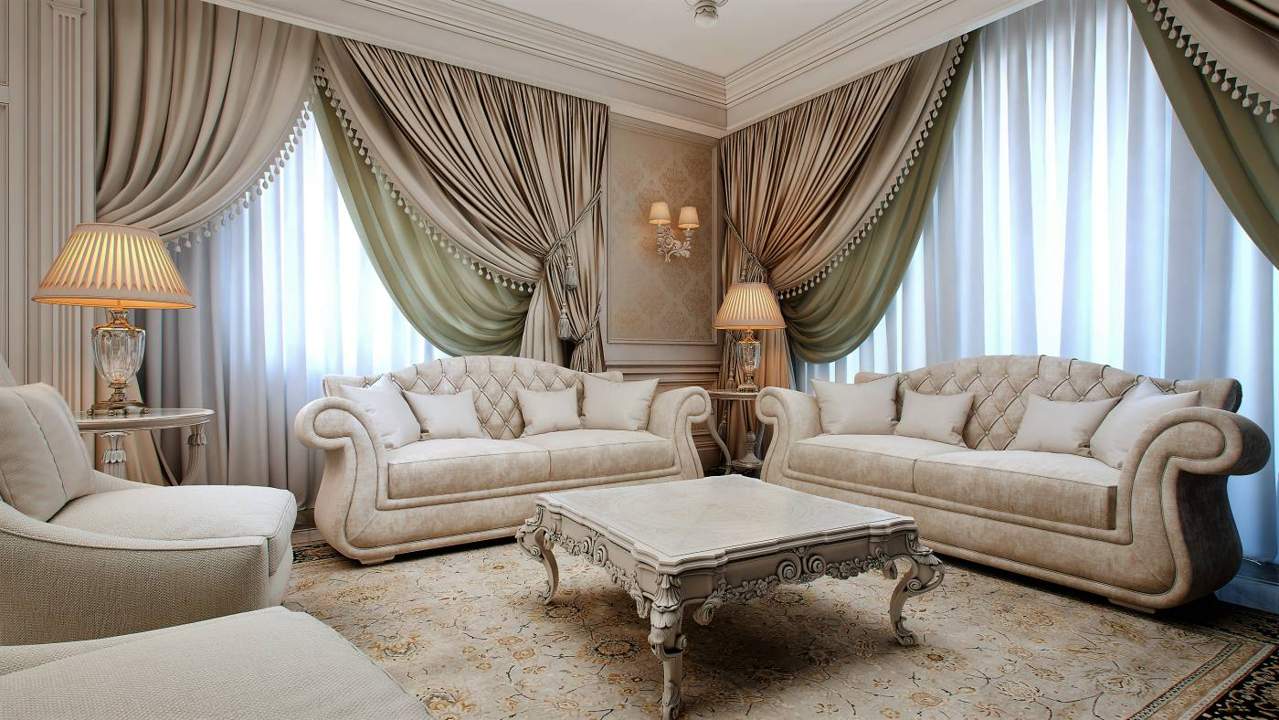 Traditional Interior Design Ideas: Lightweight Classics. Large sweeping blackout curtains for chic living room with carved furniture