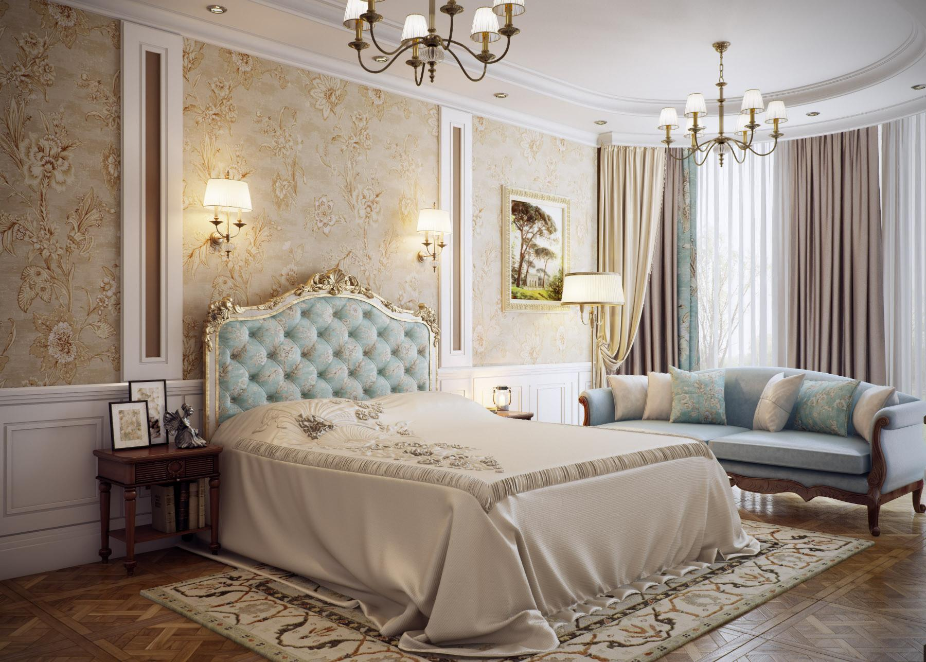Traditional Interior Design Ideas: Lightweight Classics. King size bed with quilted accent headboard