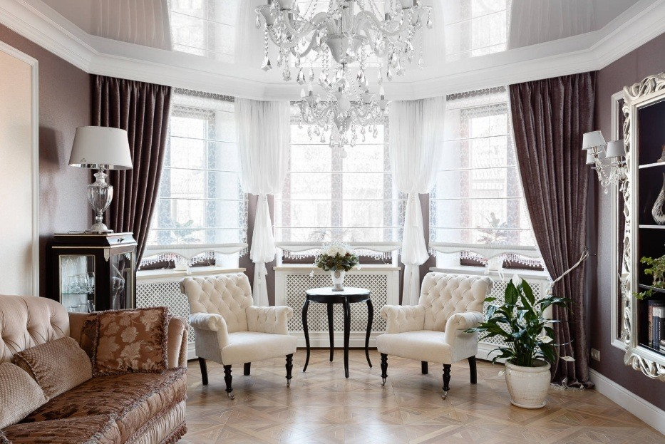 Best Modern Living Room Design Trends 2020. Luxurious classicism in fully white room with bay sash window